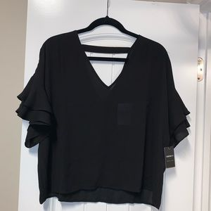 NWT Black V-neck Top